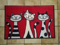 "Tapis paillasson chats ""Three Cats"" lavable"