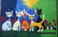 "Rosina Wachtmeister tapis paillasson chats ""Una bella compagnia"" lavable"