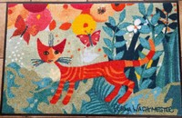"Rosina Wachtmeister tapis paillasson chat ""Un giro in giro"" lavable"
