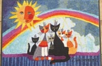 "Rosina Wachtmeister tapis paillasson chats ""Sunny family"" lavable"
