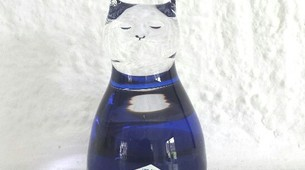 Chat bleu et transparent en verre ART GLAS