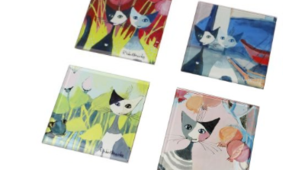 "Rosina Wachtmeister 4 sous-verres 2020 chats ""Colori del paradiso"""