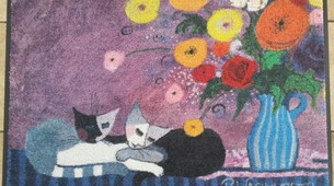 "Rosina Wachtmeister Tapis paillasson chats ""Sleep well"" lavable"