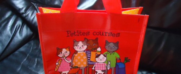 "Petit cabas CHAT CHAT CHAT rouge ""Famille chats"""